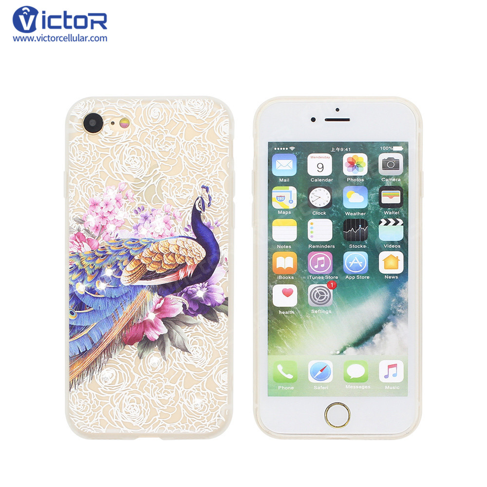 online store 783d9 3f910 Pretty Phone Cases for iPhone 7 with Embossing and Diamond Decor